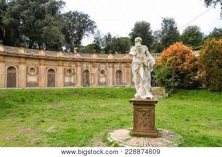 Old Antique Statue In The Park At Villa Doria-pamphili In Rome, Italy