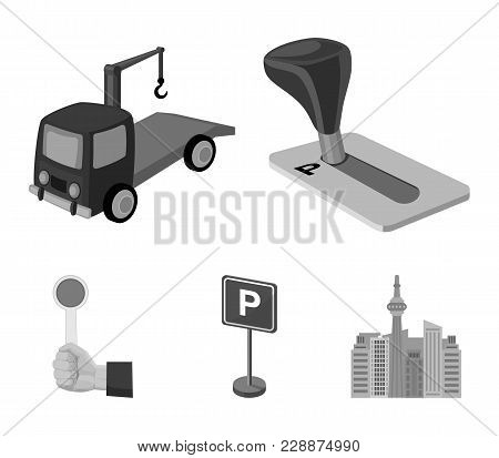 Transmission Handle, Tow Truck, Parking Sign, Stop Signal. Parking Zone Set Collection Icons In Mono