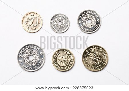 Mexican Coins On A White Background - Peso