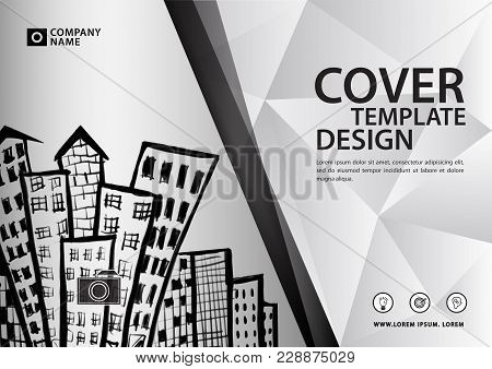 White Cover Template For Business Industry, Real Estate, Building, Home, Machinery. Horizontal Layou