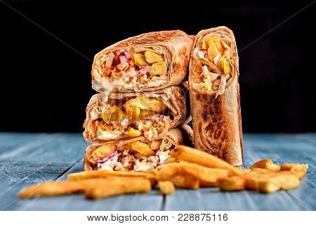 Middle Eastern Chicken Shawarma, Pita Sandwich, Chicken Roll In A Pita With Fresh Vegetables, Cream