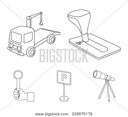 Transmission Handle, Tow Truck, Parking Sign, Stop Signal. Parking Zone Set Collection Icons In Outl