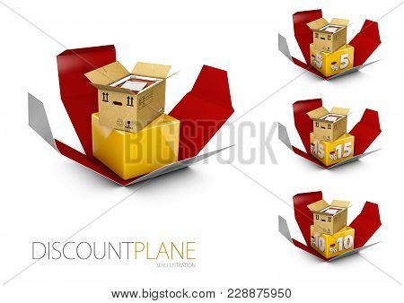 3d Illustration Of Exclusive Discount With Opend Box.