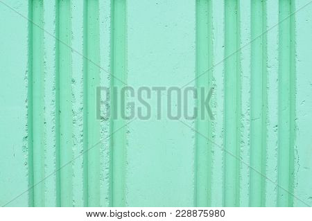 Beautiful Emerald Color. Vertical Grooves On The Wall.
