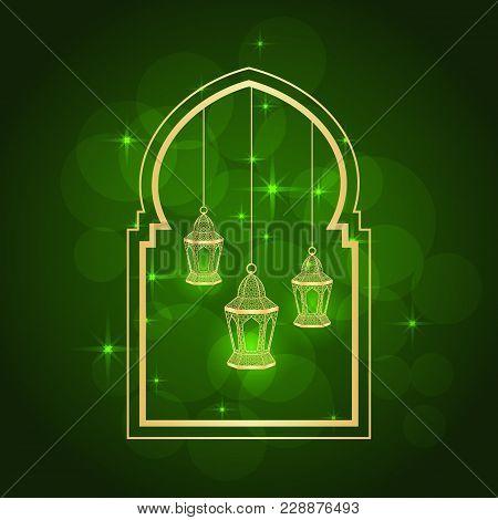 Ramadan Greeting Card On Green Background. Vector Illustration.