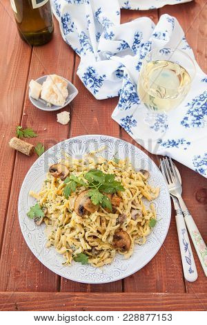 Tagliatelle With A Homemade Creamy Mushroom Sauce