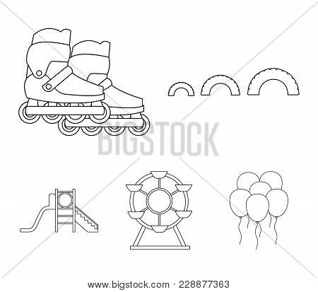 Ferris Wheel With Ladder, Scooter. Playground Set Collection Icons In Outline Style Vector Symbol St