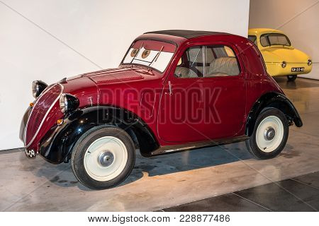 Malaga, Spain - December 7, 2016: Vintage Fiat 500 Topolino (model 1936) Italy Car Displayed At Mala