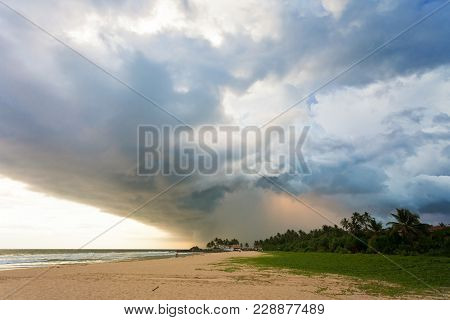 Ahungalla Beach, Sri Lanka, Asia - Impressive Clouds And Light During Sunset At The Beach Of Ahungal