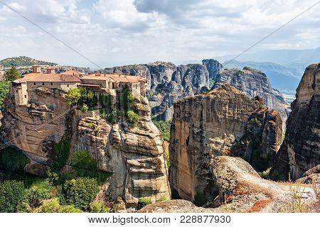 View To Monastery Holy Monastery Of Varlaam. Meteora, Greece.