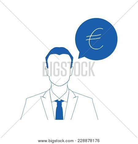 Businessman And Colorful Currency Icon. Vector Illustration.