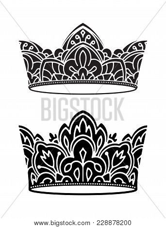 Pair Of Rich Decorated, High Detailed, Ornate Black Vector Crowns For Your Design.