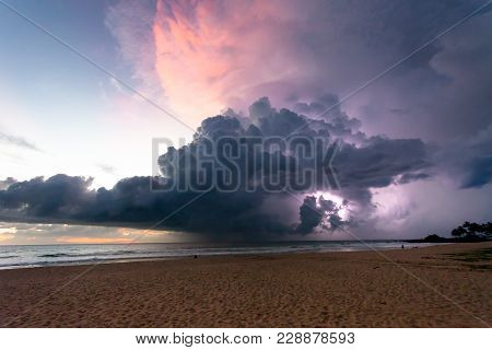 Ahungalla Beach, Sri Lanka, Asia - Thunder And Lightning During Sunset At The Beach Of Ahungalla