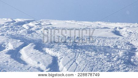 Snow Slope For Skiing . In The Park In Nature