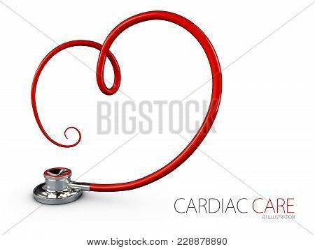 Stethoscope In Shape Of Heart. 3d Illustration. Stethoscope Heartbeat Sign.