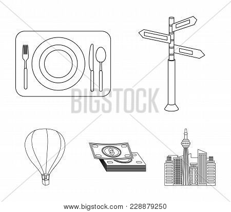 Vacation, Travel, Pointer, Way, Navigation .rest And Travel Set Collection Icons In Outline Style Ve