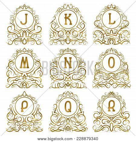 Golden Vintage Monograms Of Letters From J To R In Patterned Frames. Isolated Elements For Logo Desi