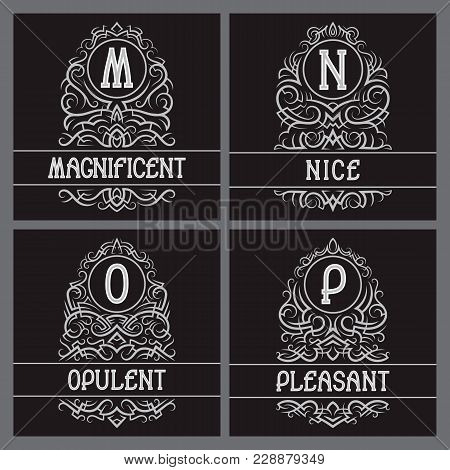 Vintage Monograms Set For Label Design. M, N, O, P Letters In Ornamental Frames With Text Fields.