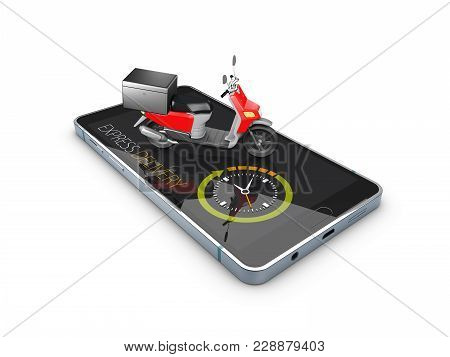 Fast Delivery For Apps And Website. Delivery Concept. 3d Illustration