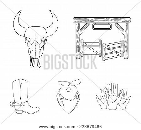 Gates, A Bull's Skull, A Scarf Around His Neck, Boots With Spurs. Rodeo Set Collection Icons In Outl