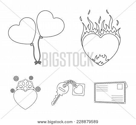 Hot Heart, Balloons, A Key With A Charm, A Cold Heart. Romantic Set Collection Icons In Outline Styl