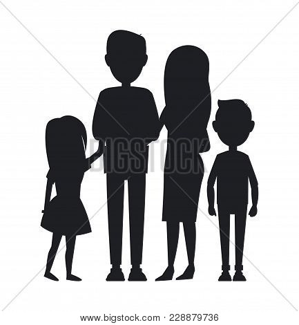 Big Family Consist Of Parents, Son And Daughter, Vector Illustration, Black Silhouettes Of Cute Fami