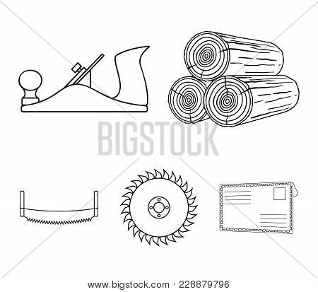 Logs In Stacks, Two-handed Saws, Circular Saw. Sawmill And Timber Set Collection Icons In Outline St
