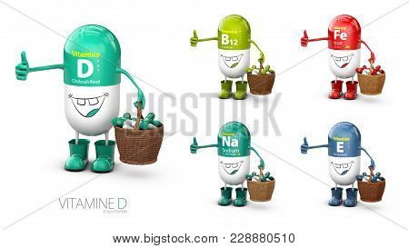 Vitamin D Shining Pill Cartoon Capsule With Set Of Vitamine. 3d Illustration.