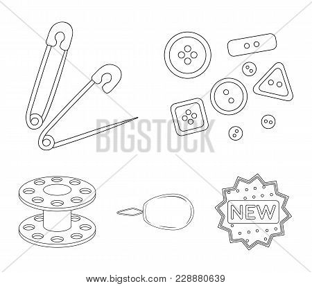 Buttons, Pins, Coil And Thread.sewing Or Tailoring Tools Set Collection Icons In Outline Style Vecto