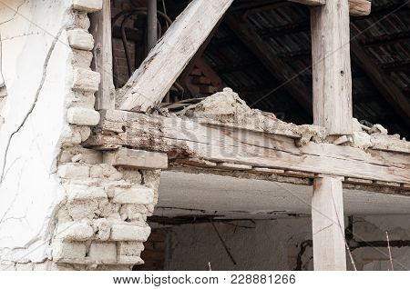 Small Old And Abandoned House Demolished Of The Earthquake Destruction Closeup