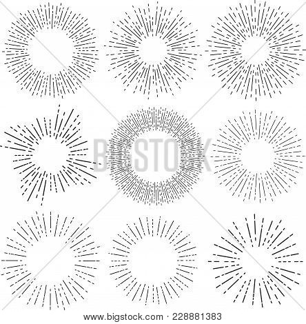 Set Of Six Vintage Sunburst, Sun Rays, Sunbeams, Vector Design Elements For Your Design