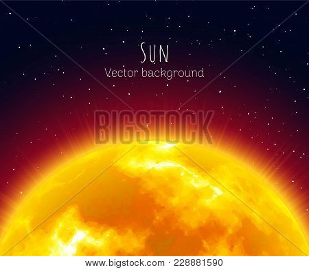 Flaming Sunrise, Close-up, Night Background, Cartoon Style. Huge Shining Star On Half Sky. Vector Il
