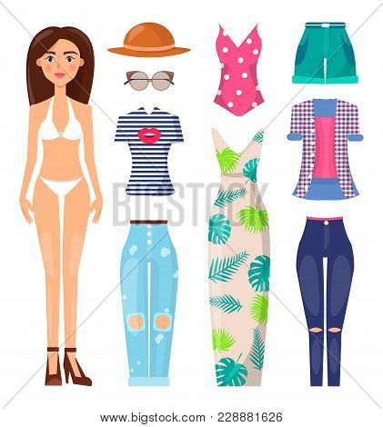 Woman And Clothes Set Poster, Banner With Summer Mode, Dress And Pants T-shirt And Top, Shorts And S