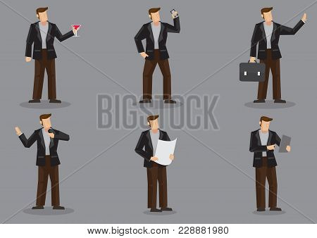 Set Of Six Vector Illustrations Of Cartoon Man In Black Suit And Brown Trousers Isolated On Grey Bac