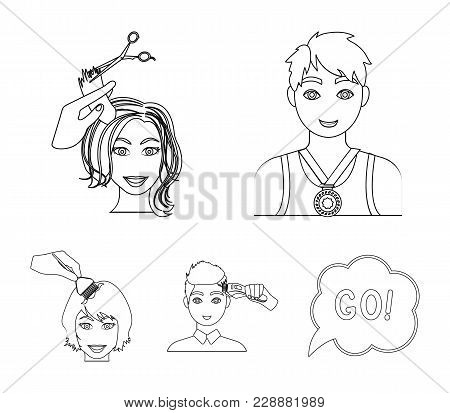 Athlete With A Medal, A Haircut With An Electric Typewriter And Other Web Icon In Outline Style. Wom