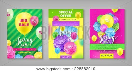 Banner, Spring Sale Discount, Colorful Background. Invitational Flyer For Seasonal Sell-out Lasting
