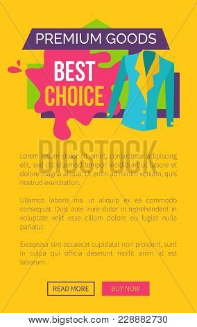 Premium Goods Best Choice Promo Poster With Push Buttons Read More And Buy Now, Woman Jacket On Stic