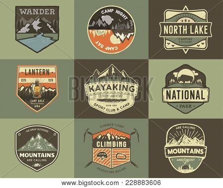 Set Of Vintage Hand Drawn Travel Badges. Camping Labels Concepts. Mountain Expedition Logo Designs.