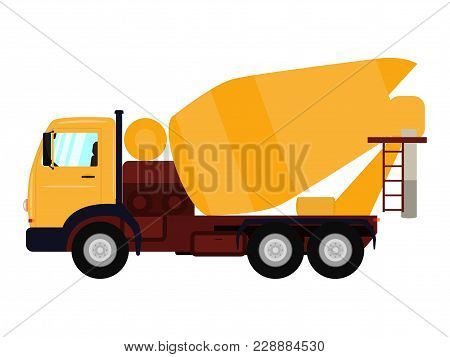Vector Illustration Of A Cartoon Truck Concrete Mixer. Isolated White Background. Construction Autom