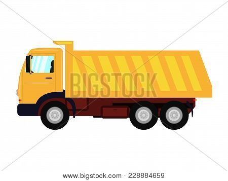 Vector Illustration Of A Cartoon Yellow Truck. Isolated White Background. Truck With A Large Body. F