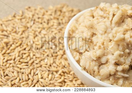 Raw Porridge. Healthy Eating. Neutral Light Background.