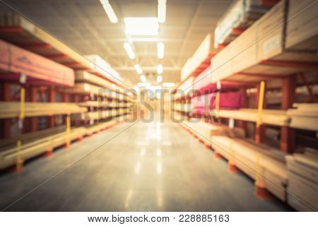 Blurred Lumber Yard At Home Improvement Retail Store In America