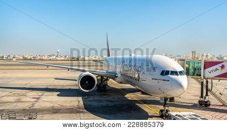 Al Muharraq, Bahrain - February 4, 2018: Emirates Boeing 777-300er At Bahrain International Airport.
