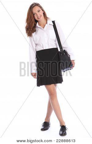 Secondary School Teenage Student Girl In Uniform