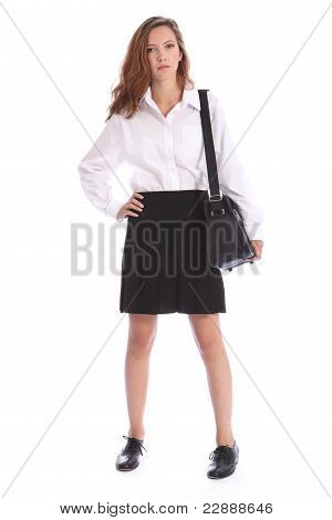Serious Secondary School Teenage Girl In Uniform