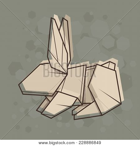 Vector Abstract Simple Illustration Drawing Outline Rabbit.
