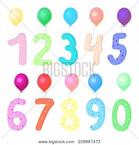 Vector Colorful Number 1, 2, 3, 4, 5, 6, 7, 8, 9, 0 With Balloons. Party Decoration, Anniversary Sig