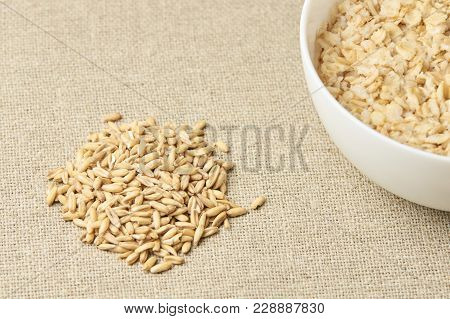 Useful Tasty Porridge. Oatmeal For Breakfast. Light Neutral Background.