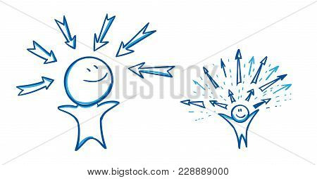 Choice. The Man Stands Opposite The Arrows, The Arrowsdirected To And From Man Direction. Vector Ill