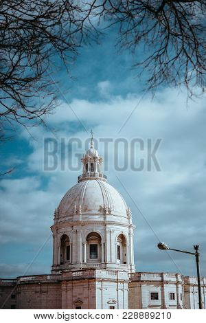 The White Cupola Of The National Pantheon In Lisbon. Blue Sky In The Background. Lisboa Lissabon.